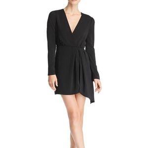 New WAYF black faux wrap long sleeve dress